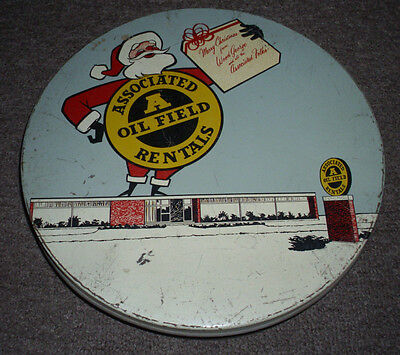 Rare Vintage 1950's Christmas Advertising Tin-Associated Oil Field Rentals.