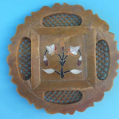 VINTAGE DISPLAY PLATE AGATE INLAY Intricate Carved Soapstone Agra India UNIQUE!