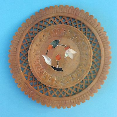 VINTAGE DISPLAY PLATE AGATE INLAY Detailed Carved Soapstone Agra India UNIQUE!