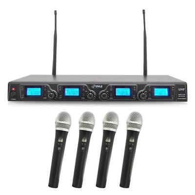 New PDWM4360U 4 Channel UHF Wireless Microphone System 4 Micrephones LCD Display