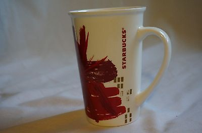 Starbucks 2014 Red and Gold Abstract Floral Coffee Tea Cup Mug Tall