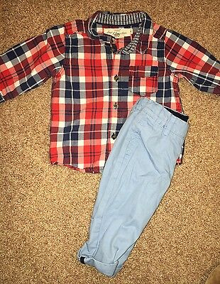 H&M Baby Boys Outfit Plaid Button Down Shirt & Blue Pants Set Size 4-6 Months