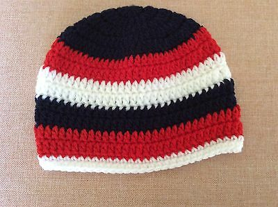 FOOTY COLOURS  NAVY RED & WHITE CROCHET  BABY BEANIE  6 to 12 months made in WA