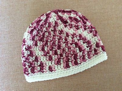 MIXED PINKS CROCHET BABY BEANIE  - 3 - 6 months  made in WA