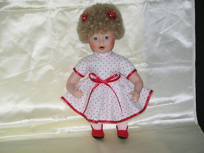 """Doll 14"""" Curly blonde hair White dress w/red polka dots Shirley Temple type"""