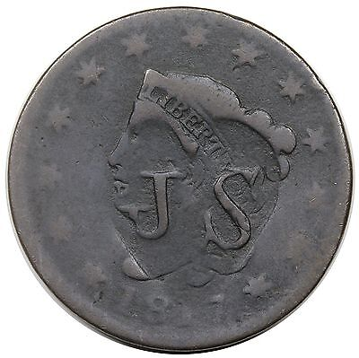 """""""J S"""" counterstamp in heart on an 1817 Coronet Head Large Cent"""