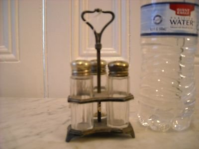 F S Co USA Silverplate & Glass Salt & Pepper Shakers In Silver Caddy