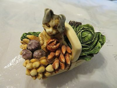 Harmony Kingdom Limited Edition Bewear the Hare Cat in Vegetable Basket