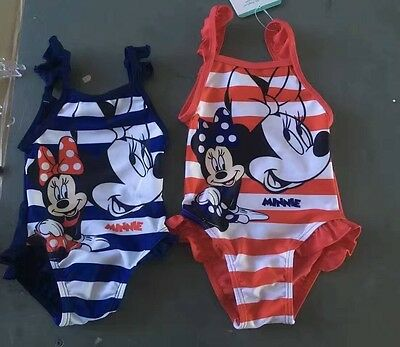 Infant Baby Girl Swimwear One Piece Striped Minnie Mouse Swimsuit 6M 12M 18M 24M