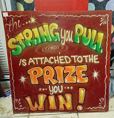vintage sideshow game airbrushed sign 1970's