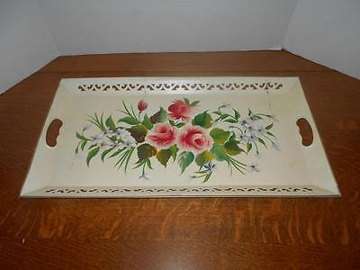 Vintage Pilgrim Art White Handpainted Rose Floral Toleware Rectangle Tray