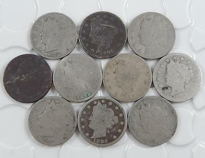 Liberty V Nickel 5 Cent Lot of 10 Different Coins 1883 Cents - 1897 A0471