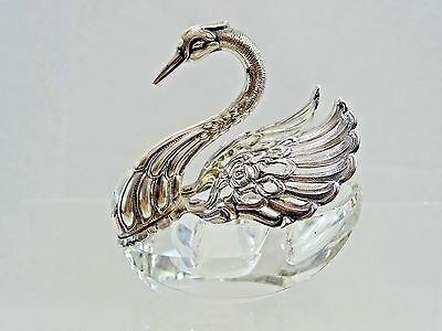 Wonderful Sterling Silver / Crystal Figural Salt Cellar Swan Bird Fine Quality
