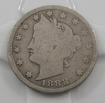 1888 Liberty V Nickel 5 Cent Good Full Rim Coin A0381