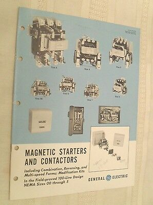 Vtg GE Brochure, Magnetic Starters and Contactors, 1962
