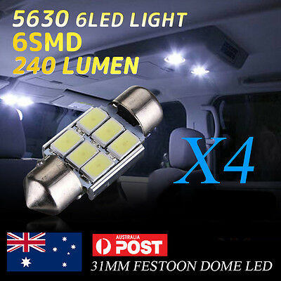 4pcs 6 SMD 31mm 5630/5730 Festoon LED Car Interior Dome Map Light Bulb Lamp