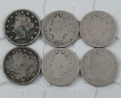 1883 Cents - 1889 Liberty V Nickel 6 Coin Lot All Different A0481