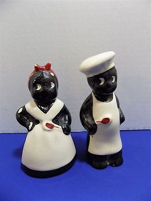 Vintage Ceramic Black Americana Mammy Pappy Chef Cook Salt & Pepper Shakers