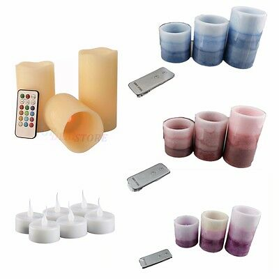 Set of 3 Led Remote Control Candles Real Wax Pillar