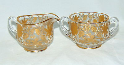 Cambridge WILDFLOWER CRYSTAL GOLD ENCRUSTED *INDIVIDUAL CREAM & SUGAR*P253