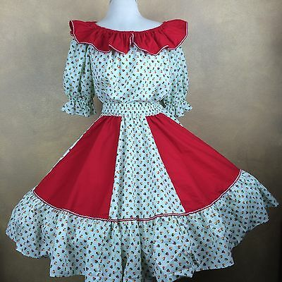 Square Dance Outfit Mint Green Floral & Red Skirt Blouse & Man Tie Homemade