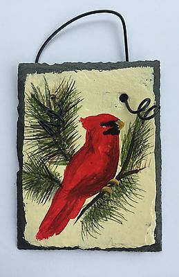 Red CARDINAL BIRD Hand Painted SLATE Christmas ORNAMENT Mni Plaque Customuze