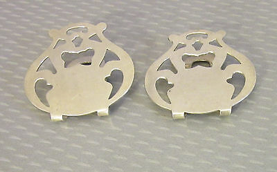 antique pair STERLING BY JENNINGS NAPKIN CLIPS no mono arts & crafts silver 17g