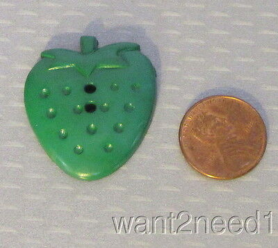 vtg French GREEN PLASTIC STRAWBERRY BUTTON large 32mm figural goofy