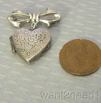 antique vtg etched sterling silver HEART LOCKET DANGLING ON BOW PIN