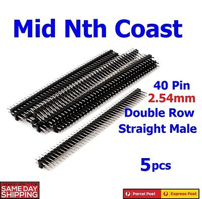 5pcs x 40x2 Pin Double Row Straight Male Header Pins 2.54mm