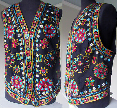 Vintage Indian Kutch Elaborate Mirror Embroidered Cotton Tribal Festival Vest