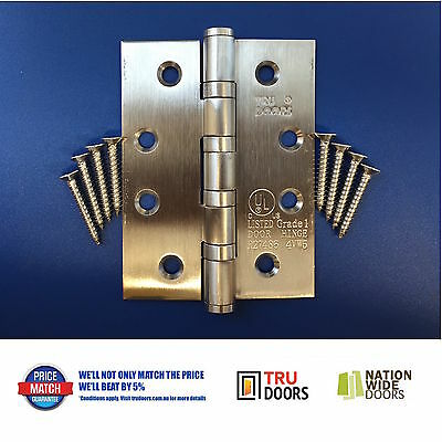 10X Stainless Steel Hinges 4 Ball Bearing Timber Doors Heavy Duty Bush Fire BAL
