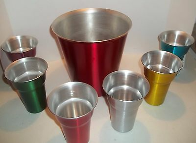 Vintage Mid Century  Aluminum  Metal Ice Bucket and  6 Drinking Glasses
