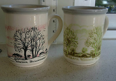 2 x MUGS-BILTONS - MADE IN ENGLAND - WINTER BLACKTHORN & CRACK WILLOW IN SPRING