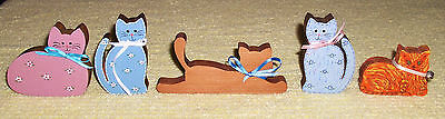 Lot of 5 Small Collectible Hand Painted Cat/Kittens Wood Block Shelf Sitters