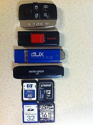 lot of mixed memory devices, flash drives memory cards 32MB to 16GB
