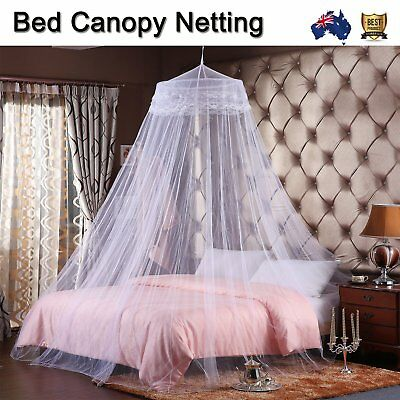 Hot Gorgeous Bedroom White King Size Fly Insect Mosquito Net Bed Canopy NEW