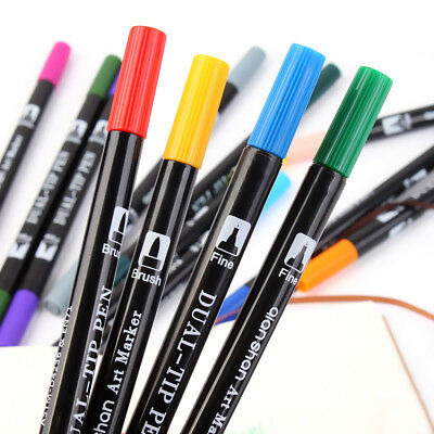 Dual Brush Pen Art Markers 24 Unique Colors with 0.4mm Fine Tip for Coloring