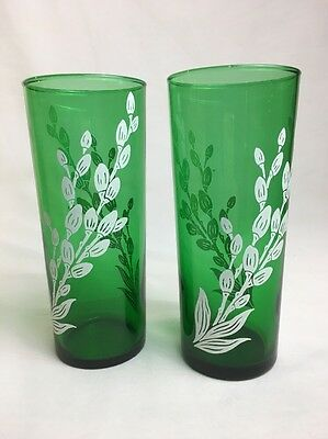 1950s 2 Forrest Green Pussy Willow Glasses Tumblers Anchor Hocking
