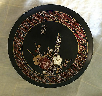 Vintage Japanese Round Bento Lunch Box - Jewelry Tray Trinket Lacquer