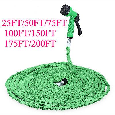 100FT Magic Water Pipe Household Flexible Hose Car Washing Gun Watering Garden