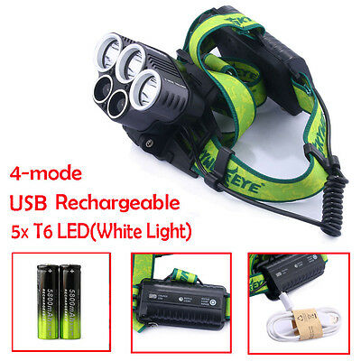 Powerful 30000lm 5X CREE XML-T6 LED Rechargeable Headlamp Headlight+2*18650+USB