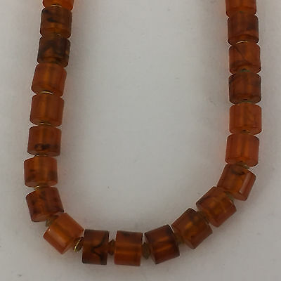 Amber Bead Necklace 25 Inches Gold Toned Clasp Rectangular Beads