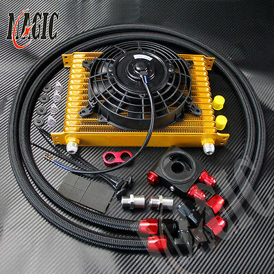 """15 Row Universal engine Transmission 10AN Oil Cooler kit +7"""" Electric Fan Kit GD"""