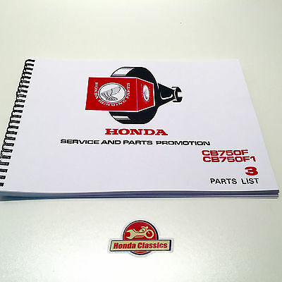 Honda Parts List Book Manual for CB750F SOHC Four, 1970s, Reproduction. HPL015