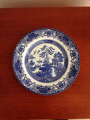 """Vintage Blue & White Old Willow English Ironstone Tableware 9.5"""" Dinner Plate"""