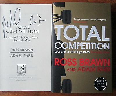 Ross Brawn Signed book-Total Competition-Formula One-Adam Parr-Double Signed