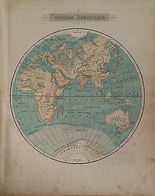 Antique 1879 Original Map of the Eastern Hemisphere by J.H. Colton