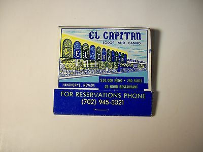 EL CAPITAN LODGE AND CASINO MATCHBOOK matches HAWTHORNE NEVADA collectible