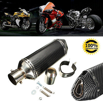 Motorcycle Carbon Fiber Exhaust Muffler Pipe 38-51mm With Removable DB Killer UK